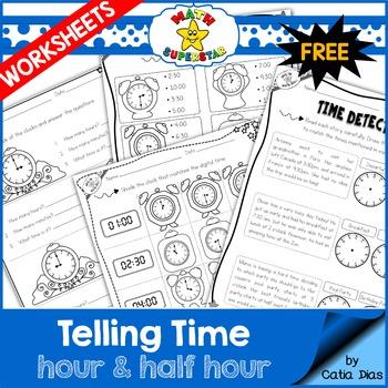 Telling Time Worksheets - Hour & Half Hour SAMPLE