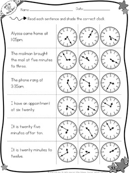 Telling Time Worksheets - Quarter, Quarter to, 5 minute increments
