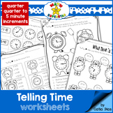 Telling Time Worksheets - Quarter, Quarter to, 5 minute in