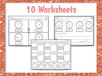 Telling Time Worksheets and Centers