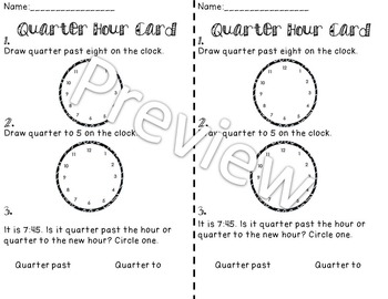 Telling Time- Worksheets and exit cards 2.MD.C.7