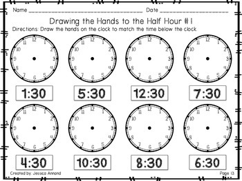 Telling Time Worksheets to the Hour and Half Hour