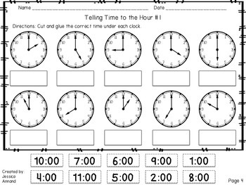 Time To The Hour And Half Hour Worksheets: telling time worksheets to the hour and half hour by jessica annand,