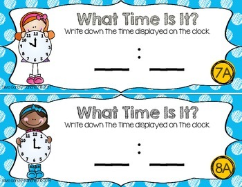 Telling Time: Write and Wipe Task Cards