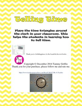 Telling Time Decoration for Classroom Clock Yellow Triangles