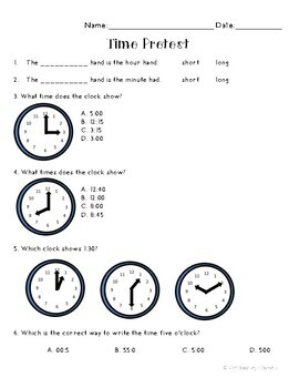 telling time and calendar pretest by elementary and elephants tpt. Black Bedroom Furniture Sets. Home Design Ideas