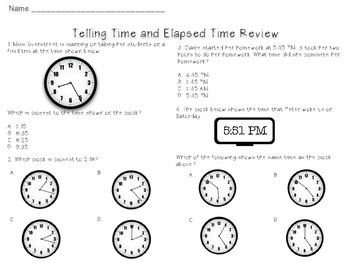 Telling Time and Elapsed Time Bundle