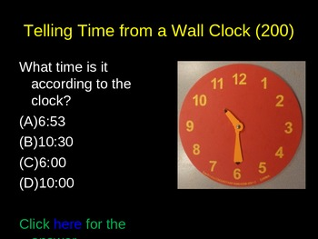 Telling Time and Elapsed Time Game