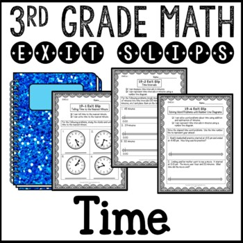 Telling Time and Elapsed Time Math 3rd Grade Exit Slips Common Core