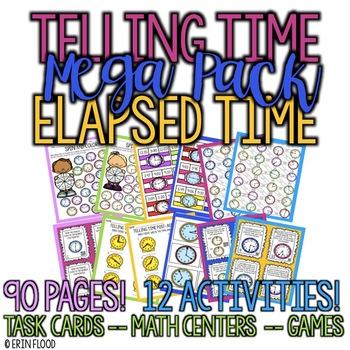 Telling Time and Elapsed Time Mega Pack Bundle
