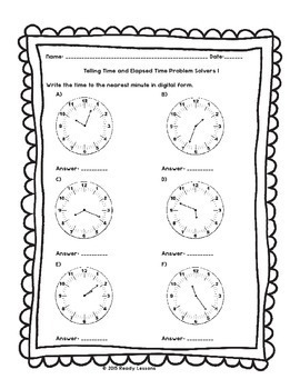 3rd Grade Telling Time to the Minute Worksheets Elapsed ...