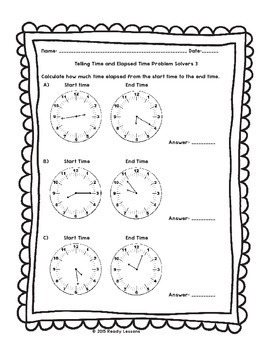 3rd Grade Telling Time to the Minute Worksheets Elapsed Times Worksheet  3.MD.1