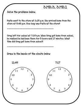 3.MD.1 and 3.MD.3. Telling Time and Graphing Assessment