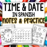 Telling Time and date in Spanish Doodle Pages Worksheets a