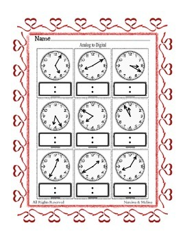 Telling Time by 5's ~ Analog to Digital Clock ~ One Work Sheet ~ Many Holidays