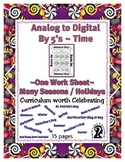 Telling Time by 5's ~ Analog to Digital Clock ~ One Work S