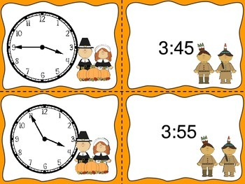 Telling Time by Five Minutes for Thanksgiving