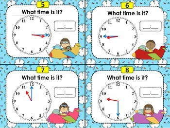 Telling Time by the Hour, Half-Hour, and Quarter Hour Task Cards (CCSS 1.MD.B.3)
