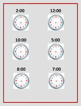 Telling Time by the hr., 1/2 hr., 1/4 hr, 5 min, 1 min.