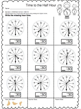 Telling Time for 1st Grade - CCSS Aligned Unit Plan, 40 Worksheets & Assessments
