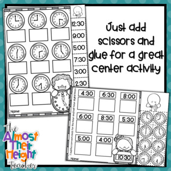Telling Time for the hour and half hour - no prep, cut & paste activities