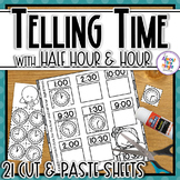 Telling Time for the hour and half hour - no prep, cut & p