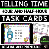 Telling Time to Hour Half-hour Task Cards | TPT Featured |