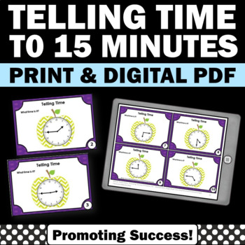 Special Education Telling Time to 15 Minutes Task Cards, 2nd Grade Math Games