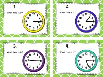 Telling Time in 15 Minute Intervals Task Cards