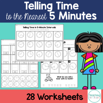 Telling Time in 5 Minute Intervals: Printable Worksheets