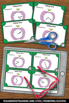 Telling Time to 5 Minute Intervals, 2nd Grade Math Review Games SCOOT