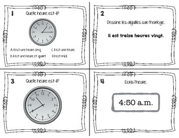 Telling Time in French - 30 Task Cards