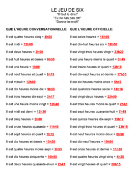 Telling Time in French : Jeu de Six game