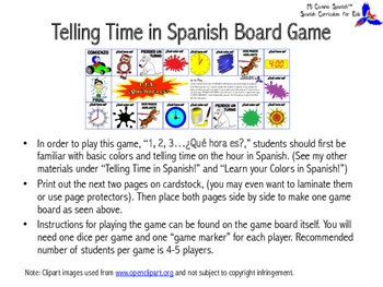 """""""1, 2, 3...¿Qué hora es?"""" (Telling Time in Spanish Board Game)"""