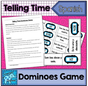 Telling Time in Spanish Dominoes Game