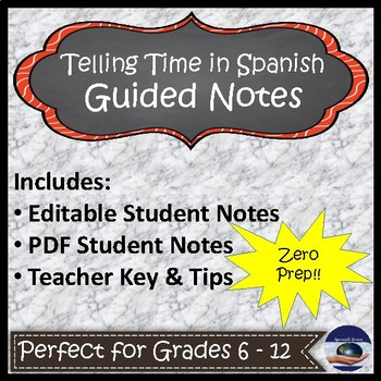 Telling Time in Spanish Guided Notes and Key