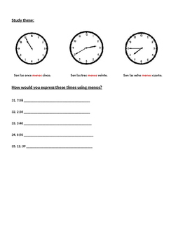 Telling Time in Spanish Practice