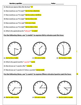 Telling Time in Spanish Practice Answer Key
