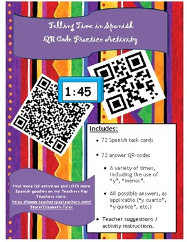Telling Time in Spanish - QR Task Cards