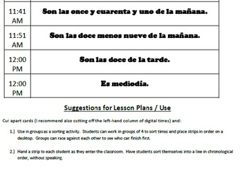 Telling Time in Spanish - Reading Activity