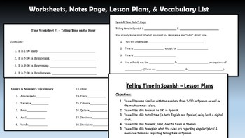 Telling Time in Spanish - UNIT PLAN