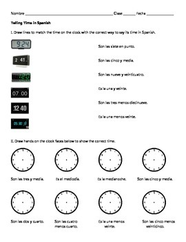 Telling Time in Spanish Worksheet