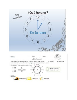 Telling Time in Spanish, an introduction.  PPT and Handout