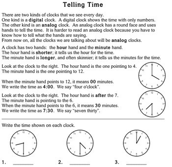 Telling Time, multi-grade - worksheets - Individualized Math