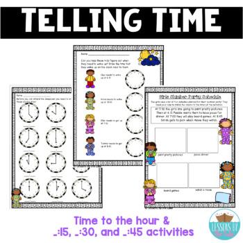 Telling Time on Analog Clocks MEGA Pack- Worksheets & Center Activities