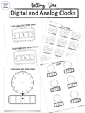 Telling Time on Digital and Analog Clocks