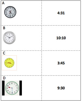 Telling Time on an Analog Clock Memory Match Game & Quiz