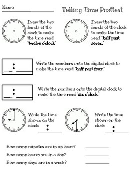 Telling Time pre- and post-test