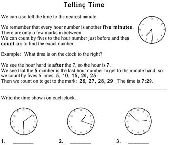 Telling Time, 2nd grade - worksheets - Individualized Math