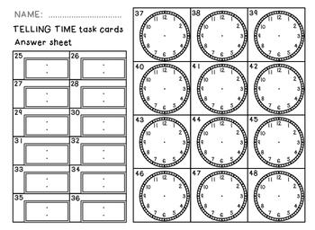 Telling Time task cards - green set - hours and half hours